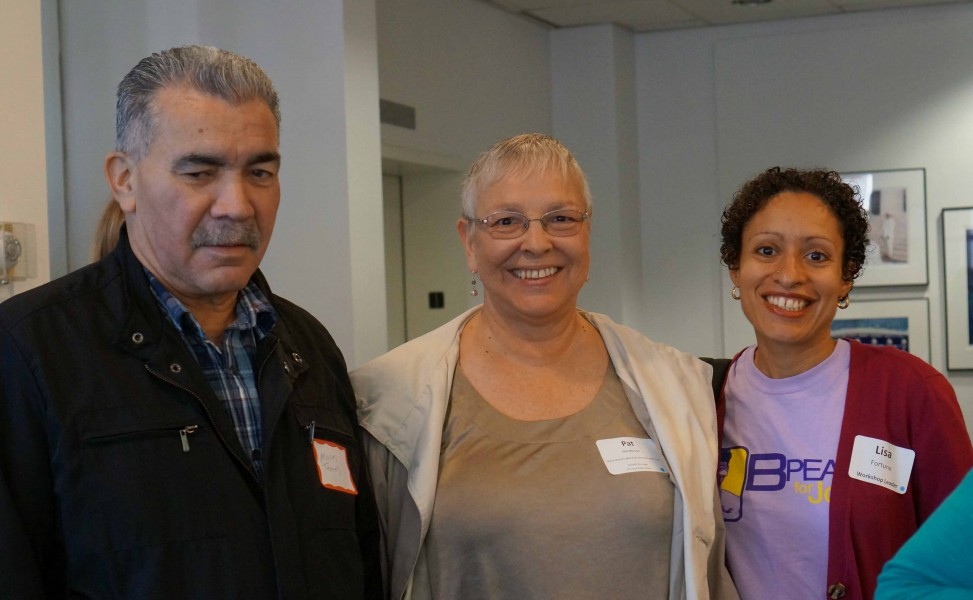 B-Peace Resource Day Sept 28 2013 Moises, Pat, and Rev. Lisa
